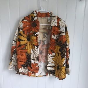 NWT Chico's Vintage Sunflower Button Up Jacket